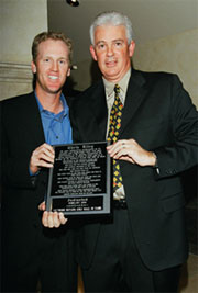 Hall-of-Famer Chris Riley with emcee Jack Sheehan